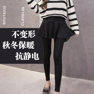韩美 秋冬装新款超显瘦百褶假两件打底裤裙裤 Aug100325