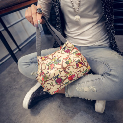 手提包防水印花便当袋 甜美饭盒包手拎女包手时尚小包包