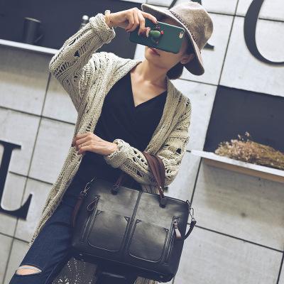 2016新款女包秋冬季韩版简约复古百搭拉链手提单肩斜挎包中包