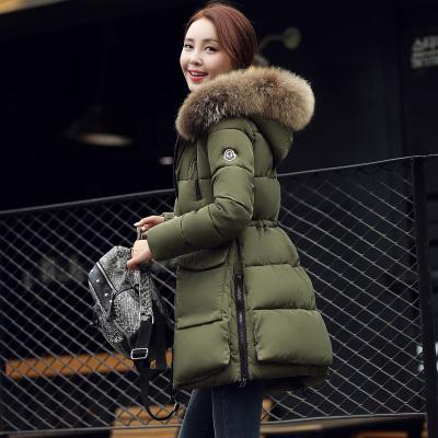 韩美 2016冬季新款韩版修身羽绒棉服加厚保暖大毛领棉衣女 Oct680610