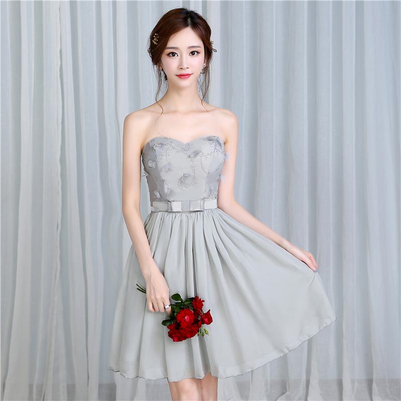 梦月娜 2016新款韩式烟灰色伴娘团显...