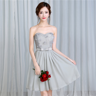梦月娜 2016新款韩式烟灰色伴娘团显瘦晚礼服