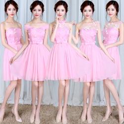 """梦月娜 2016新款韩式伴娘团姐妹裙伴娘服短款粉色伴娘团<span class=""""gcolor"""">礼服</span>"""