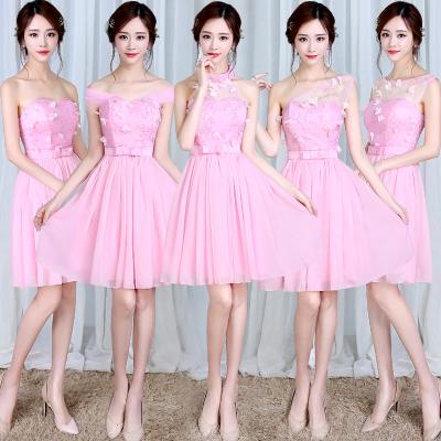 梦月娜 2016新款韩式伴娘团姐妹裙伴娘服短款粉色伴娘团礼服