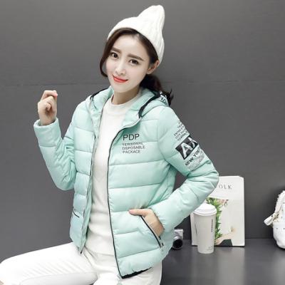 布桂坊2016冬季新款韩版大码修身字母印花短款棉衣羽绒棉服女装3008