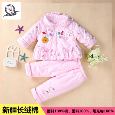 2016新款秋冬装 女宝宝加绒加厚套装 婴幼儿卫衣两件套 厂家直销