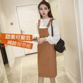 女人志 韩版冬季毛衣宽松甜美背带中长款针织连衣裙口袋吊带裙二件套装 8049
