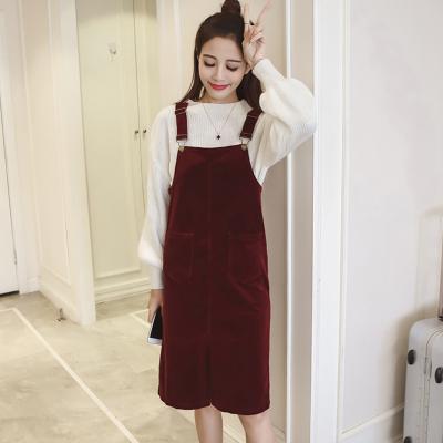女人志 春装套装女潮两件套毛衣背带裙2017新款韩版宽松中长款学生针织衫 8066
