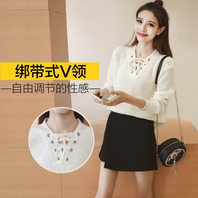 女人志 秋冬季韩版宽松V领绑带长袖毛衣时尚套装半身裙女上衣套头二件套 8076