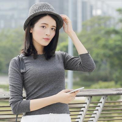 半简主义 2017秋冬时尚百搭打底小针织衫T恤女 QS017