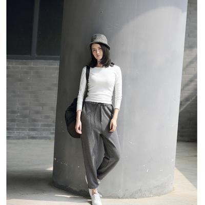 半简主义 2016秋冬雕塑直筒针织阔腿裤 QS019