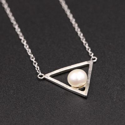 MOSSOVY 拉丝三角珍珠项链 003