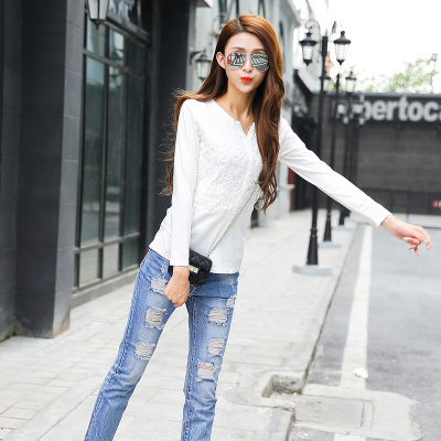 钦楠 春季女打底衫百搭修身显瘦蕾丝韩版外穿长袖T恤上衣 6005