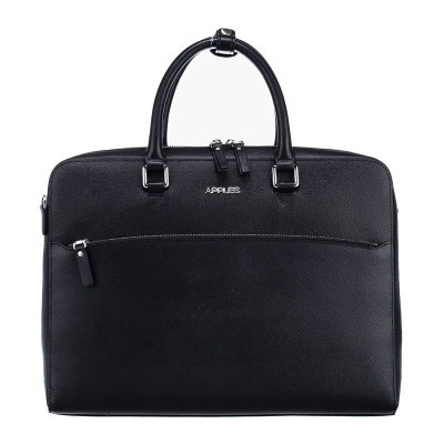 APPLES/苹果 男款时尚商务黑色十字纹牛皮手提单肩公文包 AB133269-1A