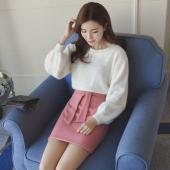 女人志 春季新款女装灯笼袖针织衫毛衣套头两件套毛呢短裙套装时尚潮名媛 8256