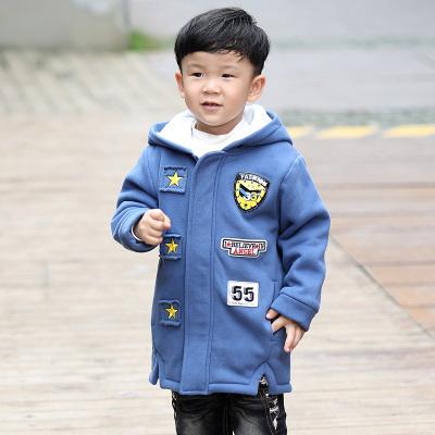 欧日韩风 2016秋冬新款上衣小孩男童贴图加绒棉衣 636013