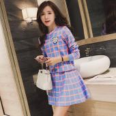 女人志 2017秋冬新款欧洲站格子毛衣时尚套装针织衫女短裙二件套 8029