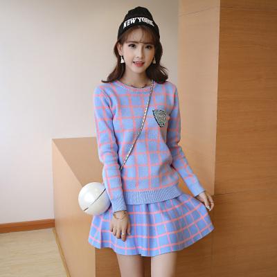 女人志 秋冬新款时尚新款英伦格子针织衫长袖半身裙子显瘦毛衣两件套装女 8029