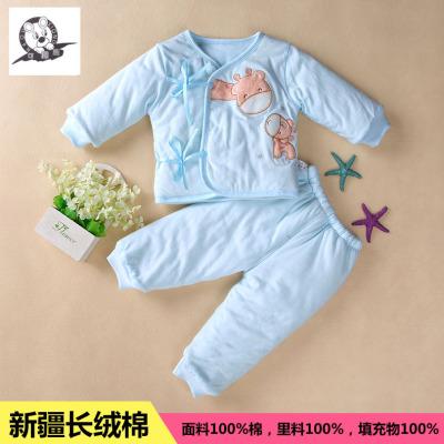 秋款童装 新生儿加厚纯棉套装 儿童保暖两件套 厂家一件代发16002