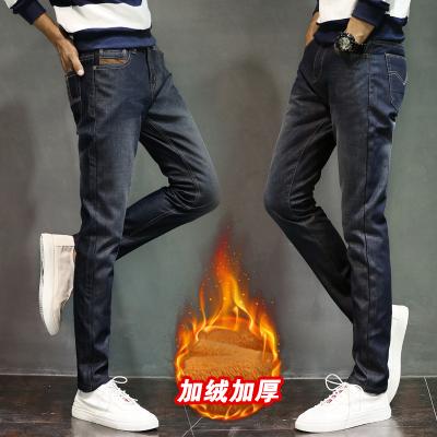 日系秋冬新款加厚加绒保暖黄金绒男士牛仔裤男装长裤修身小脚