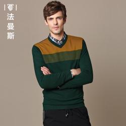 """法曼斯男士<span class=""""gcolor"""">羊毛</span>毛衣2015秋装新款青年V领套头条纹针织<span class=""""gcolor"""">衫</span>商务男装"""