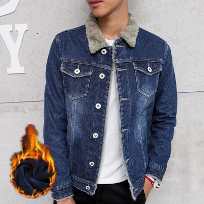 日系青年加绒加厚棉服潮男士休闲情侣修身牛仔夹克上衣外套