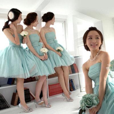 梦月娜 2016新款伴娘团伴娘服短款小礼服姐妹裙抹胸礼服