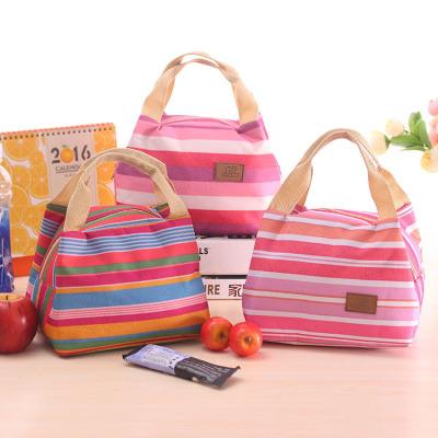 韩版可爱保冷保温包 野餐袋 条纹款午餐包 带拉链饭盒包