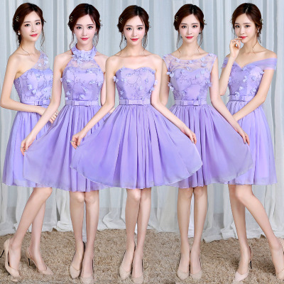 梦月娜 2016新款短款韩式伴娘团毕业礼服结婚姐妹裙