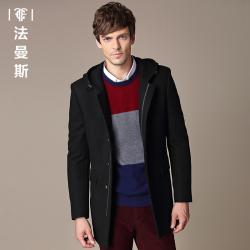 """法曼斯男士<span class=""""gcolor"""">毛呢</span>大衣2015冬季新款中青年羊毛中长款<span class=""""gcolor"""">外套</span>男修身休闲"""