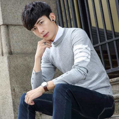 2016年秋季青年男士毛衣韩版套头条纹针织衫圆领青年学生潮