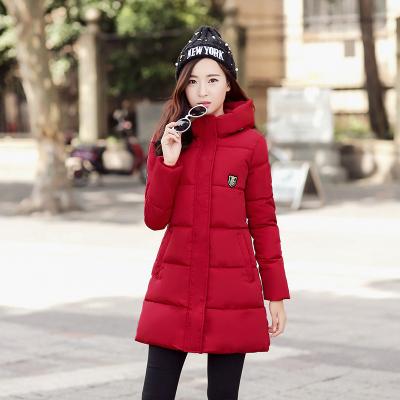 韩美 2016冬季新款韩版中长款羽绒棉服徽章棉衣女 Oct8652#12