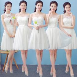梦月娜 2016新款伴娘服白色短款时尚甜美韩式晚礼服