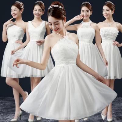 梦月娜 2016新款婚礼伴娘团礼服裙短款显瘦宴会姐妹裙