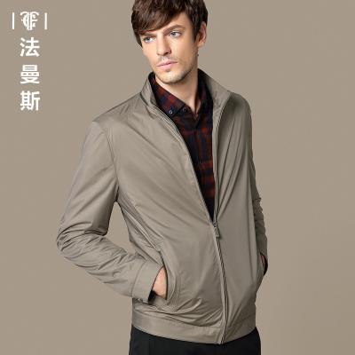 法曼斯秋季新款男士外套立领夹舒适商务休闲男装茄克