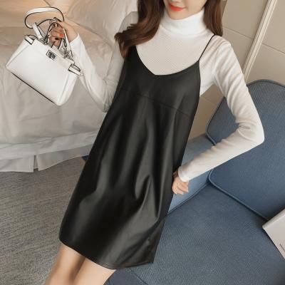 恩黛 2016秋冬新款韩版吊带PU皮连衣裙+针织打底两件套 Q047F6805