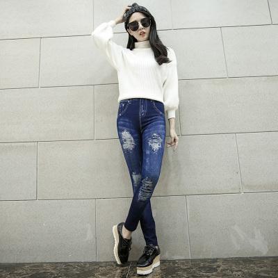 狼月布朗 3D印花针织牛仔窄脚裤 KHM9907
