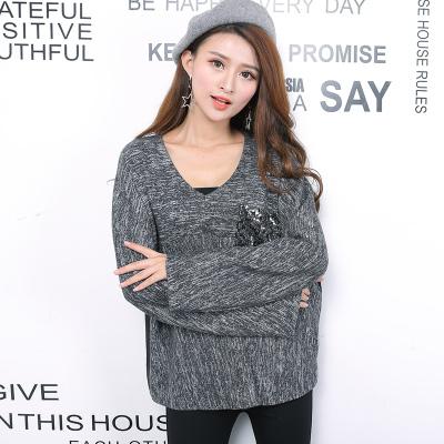 HUG 2016新款秋冬上衣混布女韩版宽松蝙蝠落肩V领套头九分袖毛衣 YKL1002