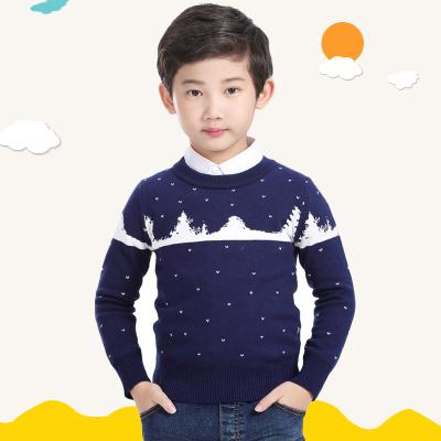 秋冬季新款男童毛衣加绒加厚中大童儿童圆领套头针织打底衫