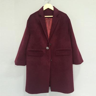传天其 2016新款中长款纯色宽松小毛扣双袋毛呢大衣 ss-103