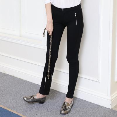 佳展 2017口袋拉链女装修身小脚裤 C008
