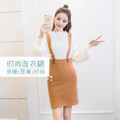 女人志 2017韩版新款针织毛衣+弹力呢背带连衣裙套装 毛衣套装8090