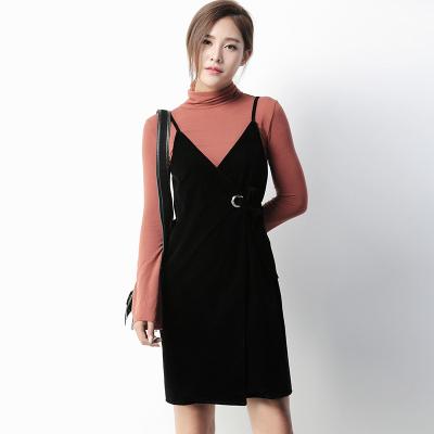 蔻点 2016秋季纯色气质复古丝绒吊带裙腰带绑带连衣裙 63Y146