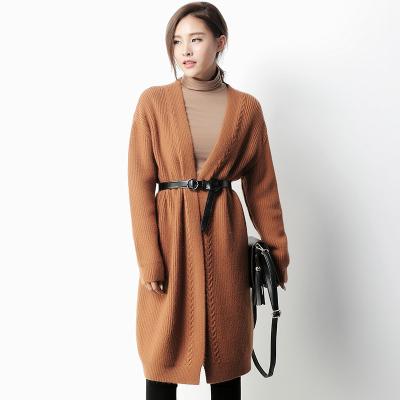 蔻点 2016秋冬女装加厚中长款针织衫开衫外搭宽松大毛衣外套 63M148