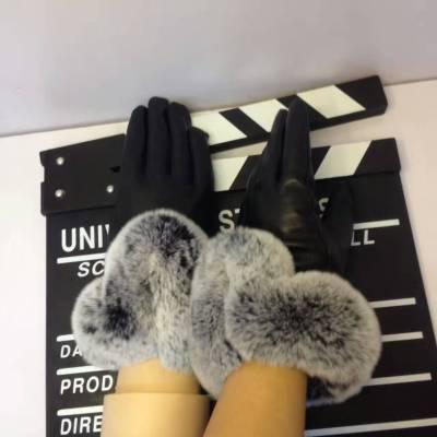 Vogellee V 羊皮加绒+兔毛手套