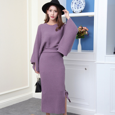 Hoonee 蝙蝠袖斗篷款羊毛针织套裙(裙摆系带)68528#