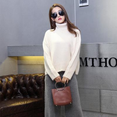 Hoonee 新款韩版女装毛衣高领纯色下摆开叉潮 68830#