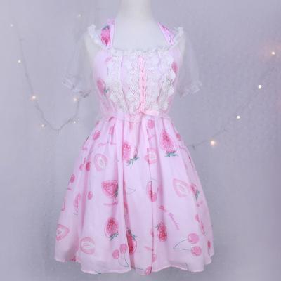 大业春城莓钻石糖可爱挂脖绑带透明罩衫假两件连衣裙 011#