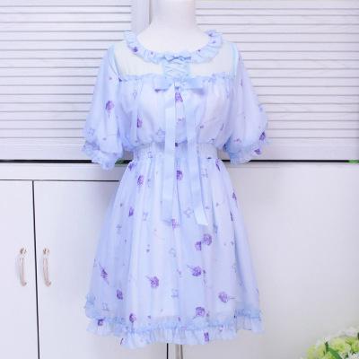 大业春城紫阳花色的夏天碎花复古仙女连衣裙 019#