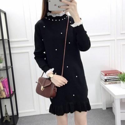 蓝莓家 秋冬装新款韩版钉珠蕾丝荷叶边针织连衣裙 5823